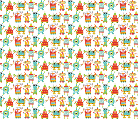 robot_line_up fabric by bratpacks on Spoonflower - custom fabric
