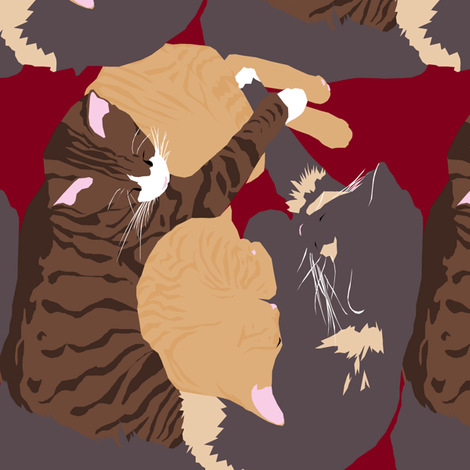 Cat Sandwich on Red fabric by pond_ripple on Spoonflower - custom fabric
