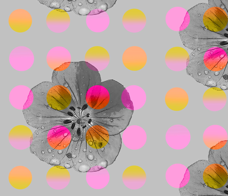 Luminous_polka_flower fabric by heaven-lee on Spoonflower - custom fabric