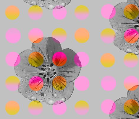 Luminous_polka_flower fabric by heaven-lee on Spoonflower - custom fabric