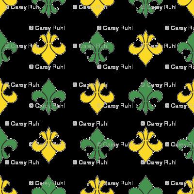 Green and Yellow Fleur De Lis