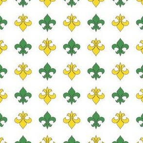 Green and Yellow Fleur De Lis