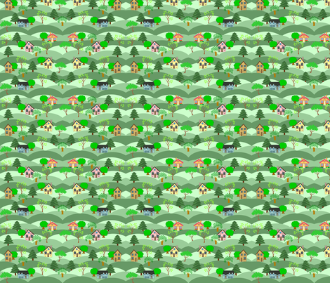 houses on hills fabric by krs_expressions on Spoonflower - custom fabric