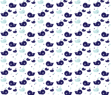 A Whale of a Pod (on white) fabric by plaidgoose_designs on Spoonflower - custom fabric