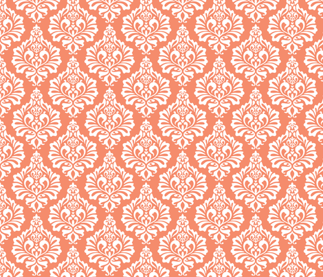Damask: Coral fabric by nadiahassan on Spoonflower - custom fabric