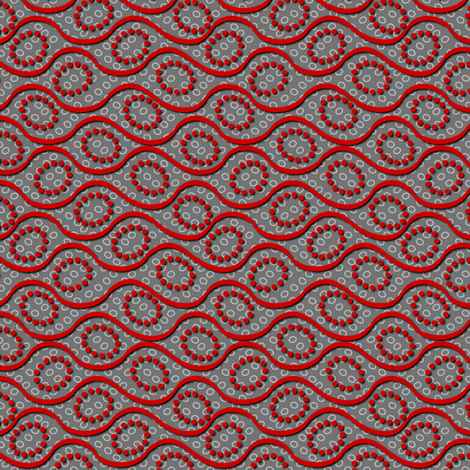 dotted_wave red on gray fabric by glimmericks on Spoonflower - custom fabric