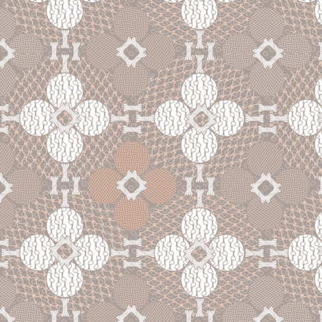 netted_and_knotted Taupe and Coral fabric by glimmericks on Spoonflower - custom fabric