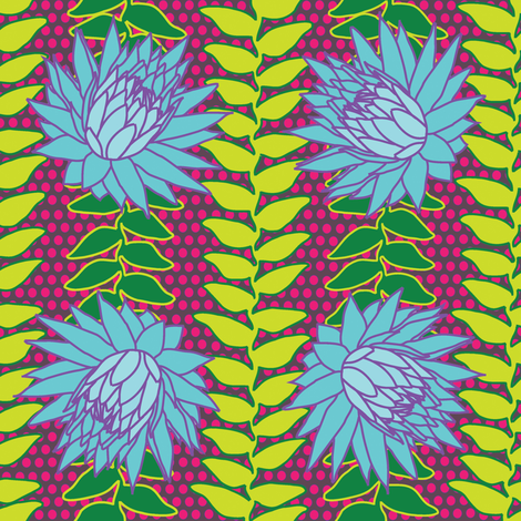 African Flowers Blue fabric by curious_nook on Spoonflower - custom fabric