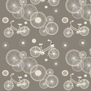 bicycles and wheels in olive & light brown