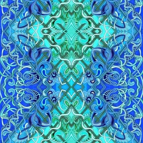 Because of Blues (diagonal zig zag diamond ombre with paisleys)