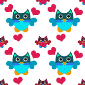 Hearts, Pink & Blue Owls
