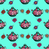 Teapots and Flowers on Aqua