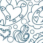 Paisley Hearts Line Art