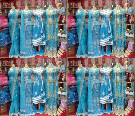 Blue Saris in a Store Window fabric by susaninparis on Spoonflower - custom fabric