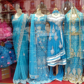 Blue Saris in a Store Window