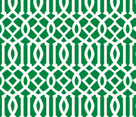 Imperial Trellis-Green/White-Large fabric by melberry on Spoonflower - custom fabric