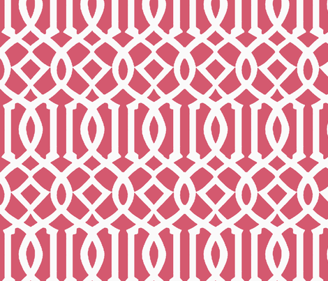 Imperial Trellis-Coral/White-Large fabric by melberry on Spoonflower - custom fabric