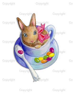 Easter Bunny in Tea Cup with Jelly Beans