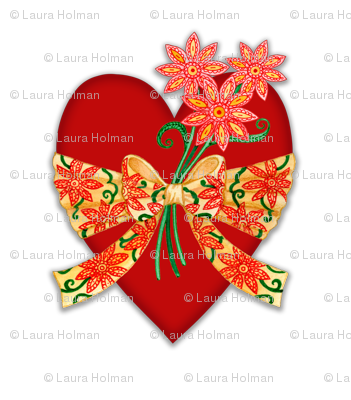 Valentine Heart with Floral Bow