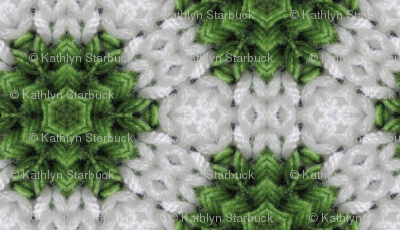 Green and white snowflake