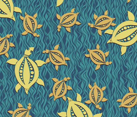 Turtle - dark blue and turquoise fabric by bippidiiboppidii on Spoonflower - custom fabric