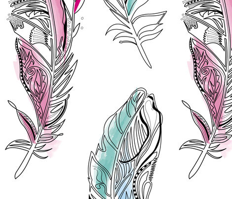 Feathers fabric by annelize on Spoonflower - custom fabric