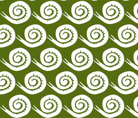 snails in green large fabric by ali*b on Spoonflower - custom fabric