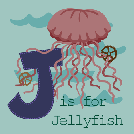 J is for Jellyfish fabric by phantomssiren on Spoonflower - custom fabric