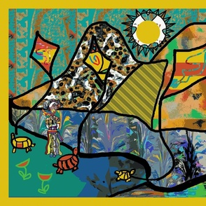 The Ottoman Turtles Fly Kites with the Lady of Colors (large repeat)