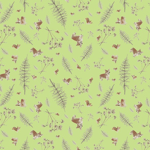 corgi and botanicals print - apple green
