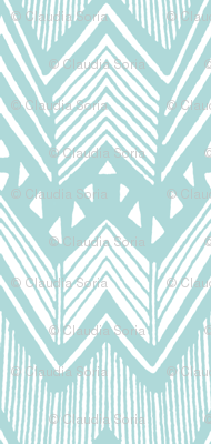 Hand drawn Chevron - Aqua