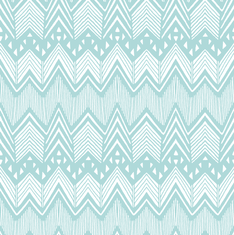 Hand drawn Chevron - Aqua  fabric by kimsa on Spoonflower - custom fabric