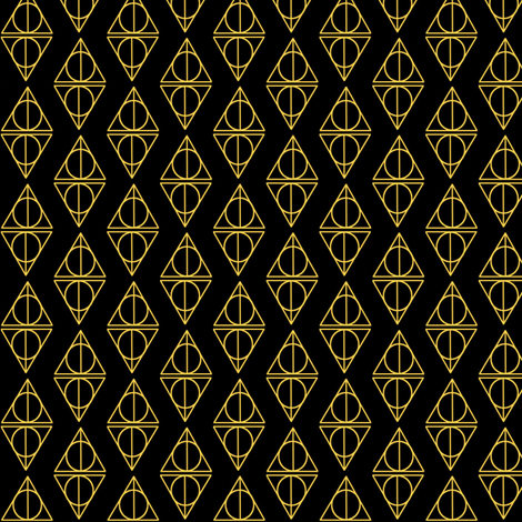 Deathly Hallows black and gold fabric by occiferbetty on Spoonflower - custom fabric