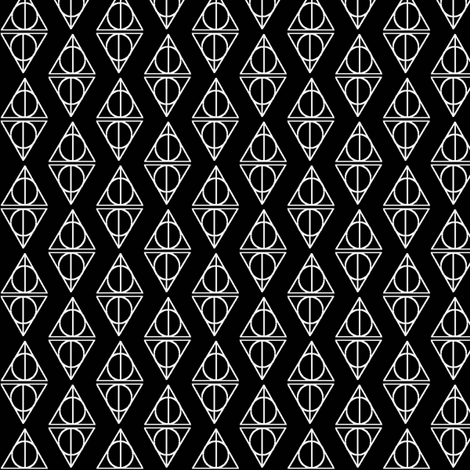 Deathly Hallows Black and White fabric by occiferbetty on Spoonflower - custom fabric
