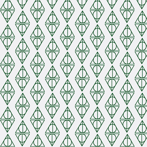 Deathly_Hallows White and Green-ch fabric by occiferbetty on Spoonflower - custom fabric