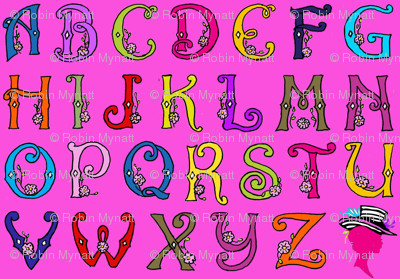 Fancy Party Monogram Alphabet Multi Initials / PINK Paris Bebe Fabrics