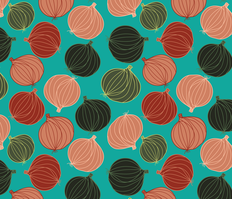 onions on teal fabric by kociara on Spoonflower - custom fabric