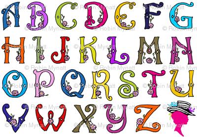 Fancy Party Monogram Alphabet Multi Initials / White Paris Bebe Fabrics