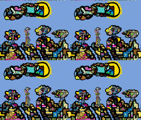 The Lady of Colors and her flock of Clown Sheep (large scale repeat) fabric by anniedeb on Spoonflower - custom fabric
