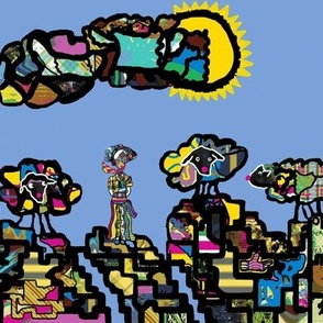 The Lady of Colors and her flock of Clown Sheep (large scale repeat)
