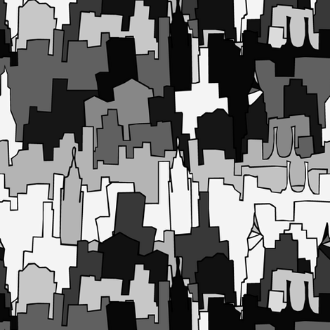 Monochromatic City fabric by pond_ripple on Spoonflower - custom fabric