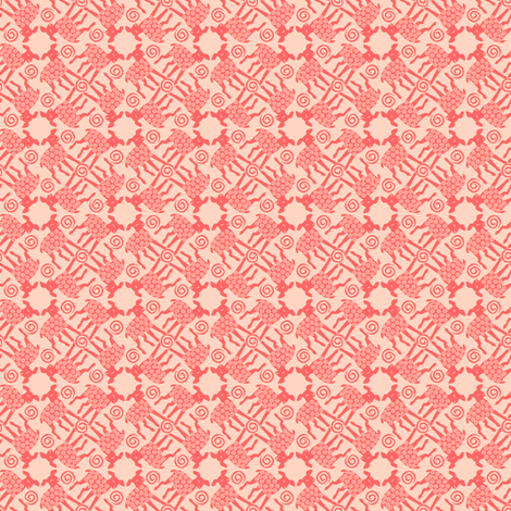 lambs_in_coral_and_peach fabric by glimmericks on Spoonflower - custom fabric