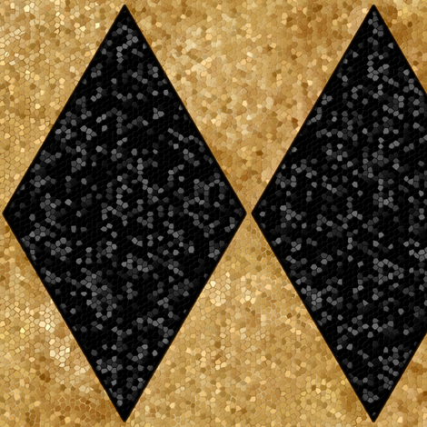 """Harlequin Diamonds ~ Black and Antique Gold ~ Sequins ~ 8"""" tall fabric by peacoquettedesigns on Spoonflower - custom fabric"""