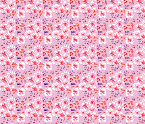 amélie_fond_rose_S fabric by nadja_petremand on Spoonflower - custom fabric