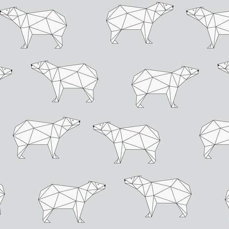 Polar Bear - Gray (small) fabric by kimsa on Spoonflower - custom fabric