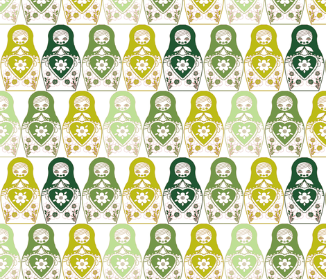 poupée_russe_monochome_vert_M fabric by nadja_petremand on Spoonflower - custom fabric