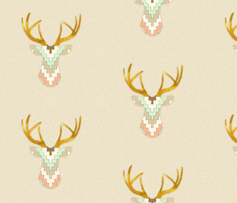 Telluride Deer in Mint and Coral fabric by sparrowsong on Spoonflower - custom fabric