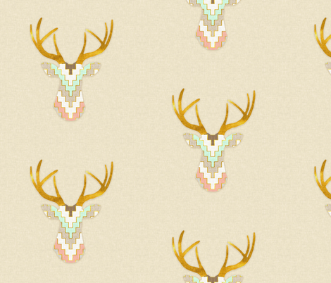 Telluride Deer in Mint and Coral fabric by willowlanetextiles on Spoonflower - custom fabric