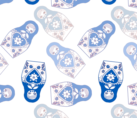 poupe_russe_twist_bleu_fond_blanc_L fabric by nadja_petremand on Spoonflower - custom fabric