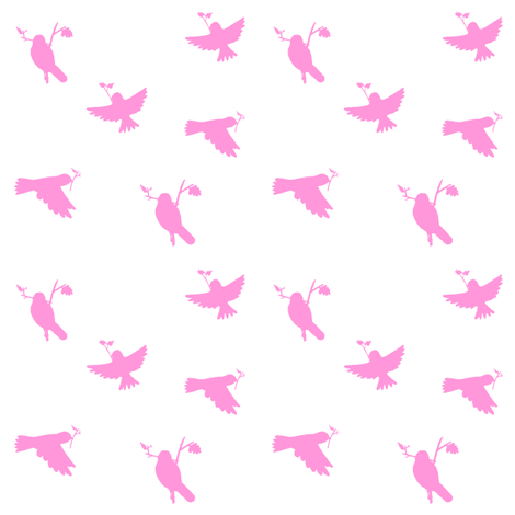 pink_nest_making_birds_on_white_4_inch_repeat fabric by free_spirit_designs on Spoonflower - custom fabric